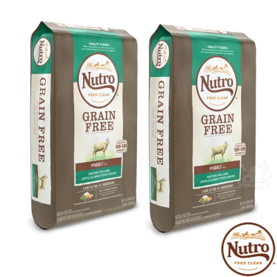 【Nutro 美士】低敏無穀 成犬糧(牧場小羊+扁豆+地瓜)4磅 X2包