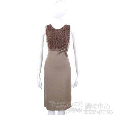 NINA 可可色立體花拼接無袖洋裝
