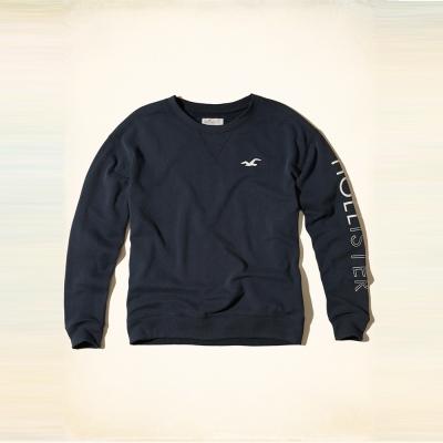 Hollister 經典海鷗文字印刷長袖T恤(女)-深藍色 HCO