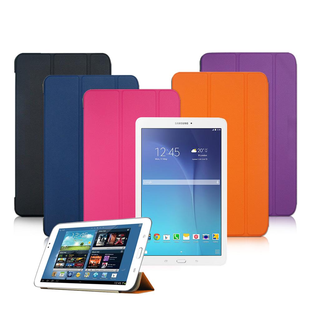 VXTRA 三星Galaxy Tab E 8.0 經典皮紋超薄三折保護套