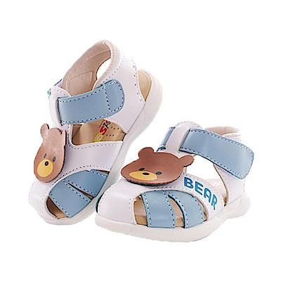 小熊幼兒手工真皮寶寶鞋 藍 sk0373 魔法Baby