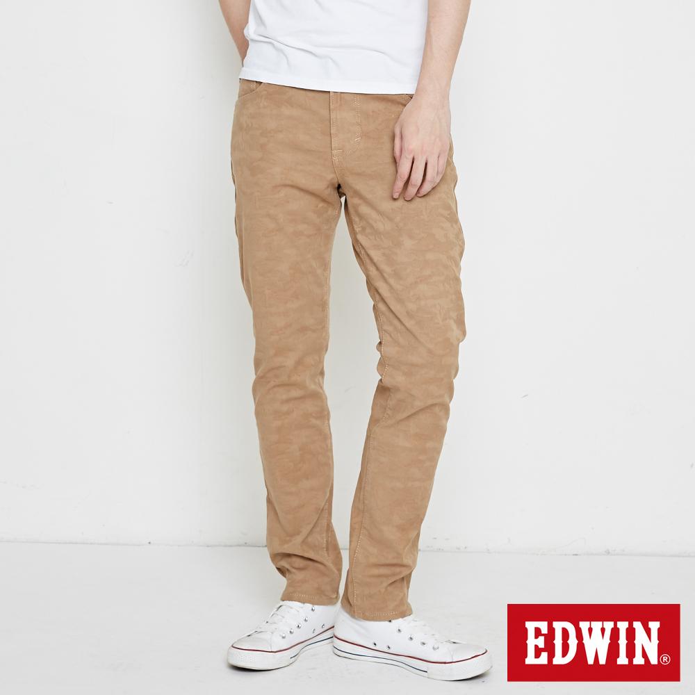 EDWIN EDGE迷彩貼合保溫直筒褲-男-褐色
