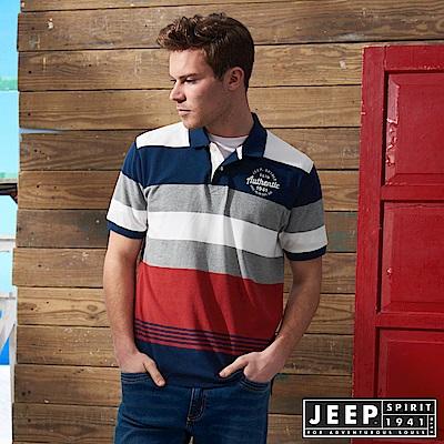 JEEP 經典撞色條紋短袖POLO衫-紅色