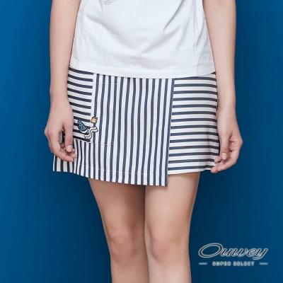 OUWEY歐薇-圍裹裙片貼布褲裙-藍