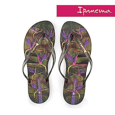 IPANEMA 熱帶花卉夾腳拖鞋-黑色/紫色