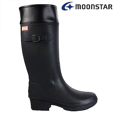 Moonstar日本 女 長筒保暖雨靴(黑)