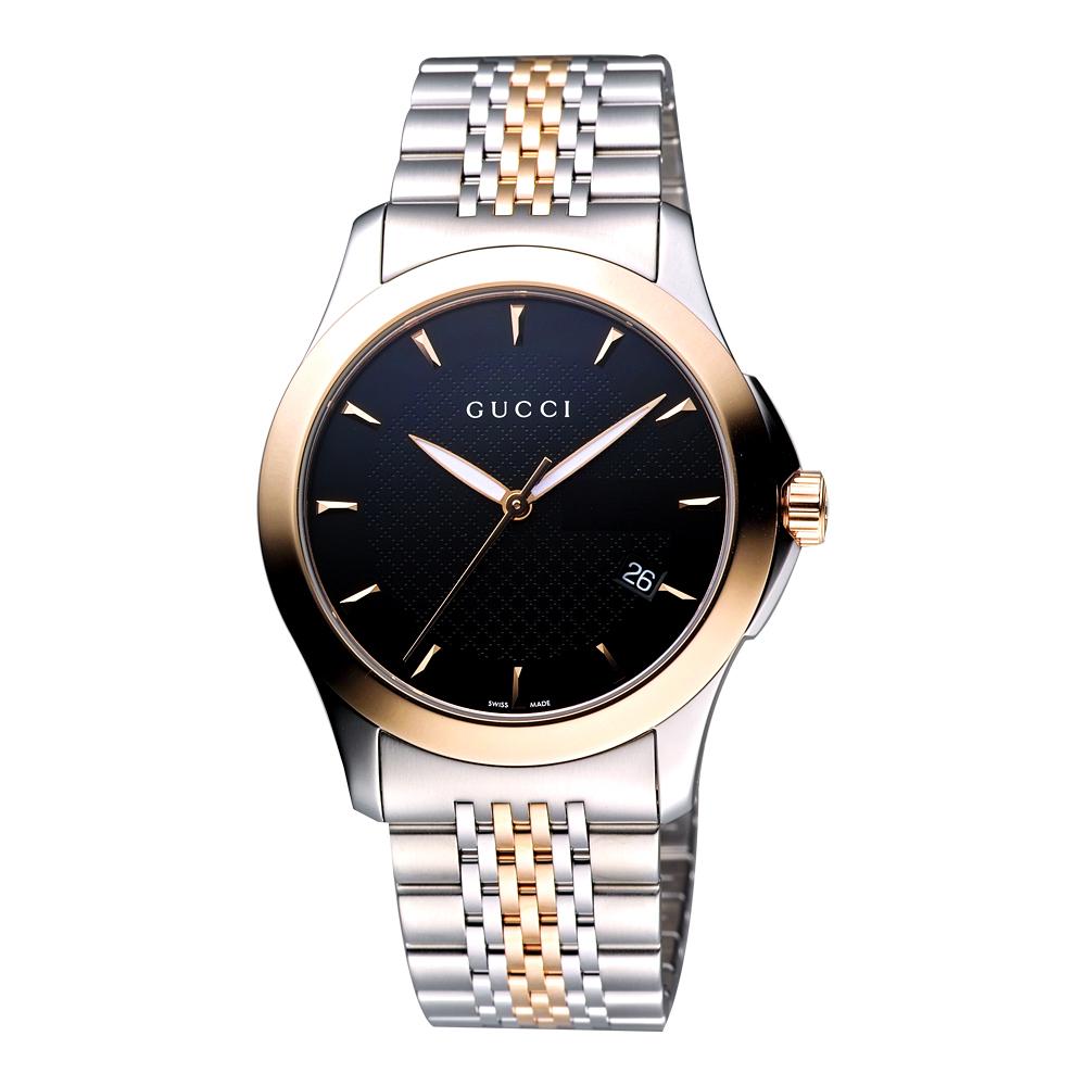 GUCCI G-Timeless 古馳菱格紋時尚腕錶-黑/半金/38mm