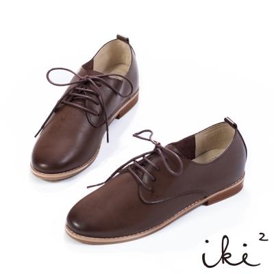 iki2-經典品味真皮親膚牛津鞋-深咖