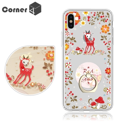 Corner4 iPhoneX 奧地利彩鑽指環扣雙料手機殼-蘑菇小鹿
