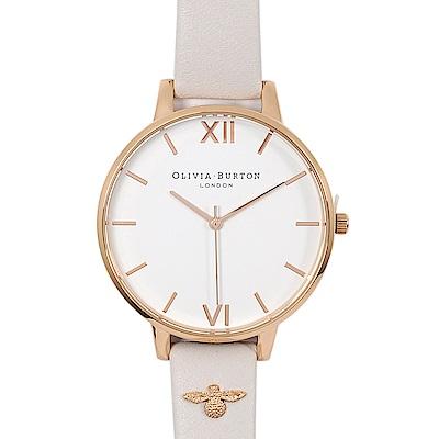 Olivia Burton 英倫復古手錶 簡約錶面3D蜜蜂真皮錶帶 玫瑰金x淺灰38mm