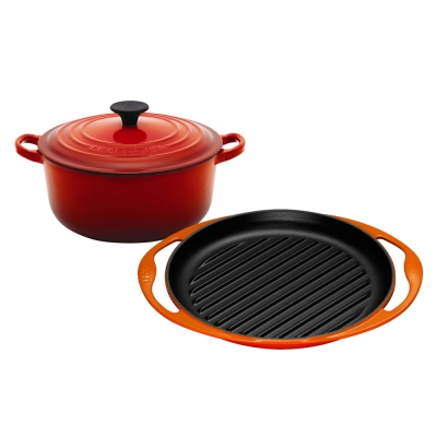 LE-CREUSET-琺瑯鑄鐵圓鍋-18cm-櫻桃紅-琺瑯鑄鐵雙耳圓型烤盤-火焰橘