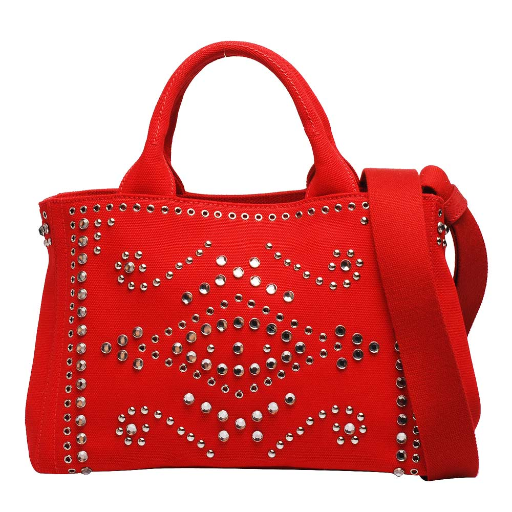 PRADA CANAPA系列浮雕LOGO帆布手提/斜背包(玫瑰紅)PRADA