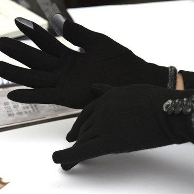 ACUBY-二指觸控鈕扣時尚手套-黑