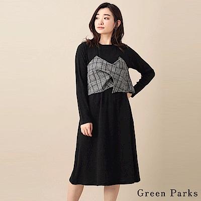 Green Parks 格紋造型長袖針織洋裝