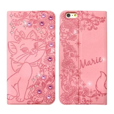 迪士尼授權 iPhone 6/6s 4.7吋 時尚貼鑽浮雕皮套(瑪麗貓)