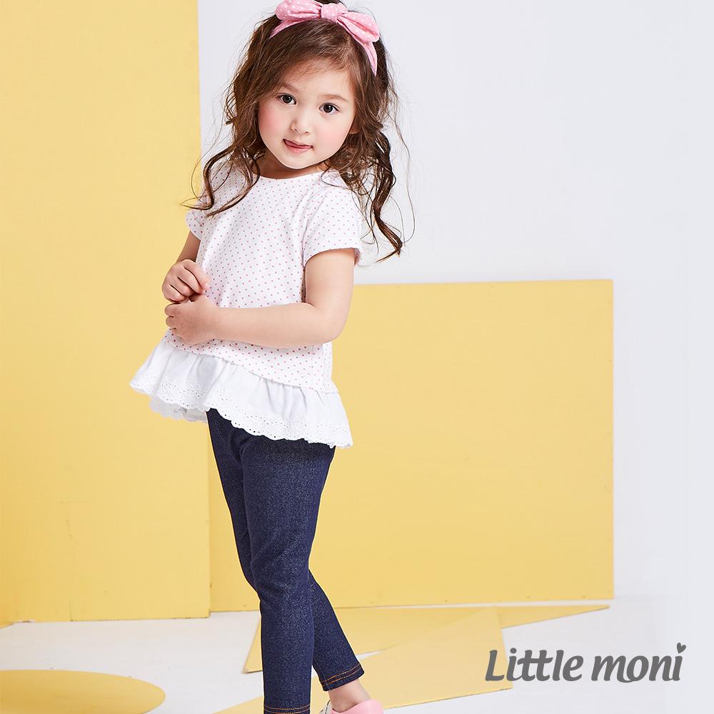 Little moni 甜心女孩針織牛仔合身褲 深藍