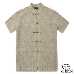 GIBBON 經典木紋感短袖唐裝‧棕色M~XL