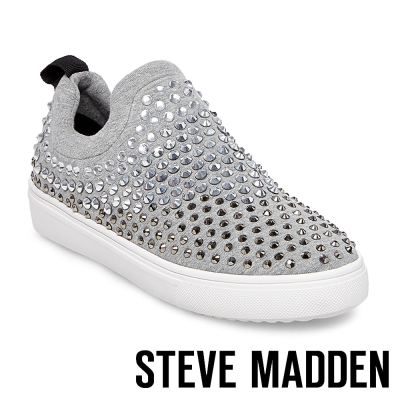 STEVE MADDEN-SHERRY 混色水鑽布面休閒懶人鞋-灰色
