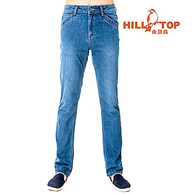 【hilltop山頂鳥】男款吸濕排汗抗UV牛仔褲S07MB2-淺藍