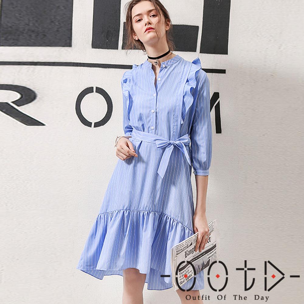 條紋荷葉邊襯衫洋裝(藍色)-OOTD