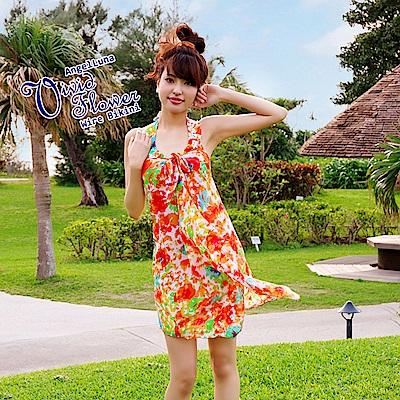 【AngelLuna日本泳裝】渲染印花三件式比基尼泳衣-橘色