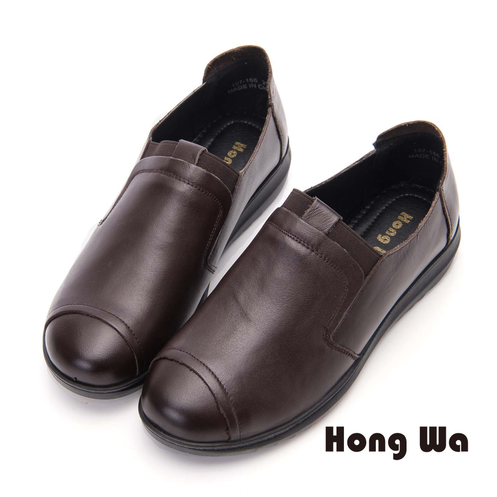 Hong Wa 簡約素面牛皮舒適包鞋- 咖