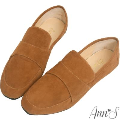 Ann'S韓系素面Q彈超柔軟全真皮舒適休閒平底鞋-棕