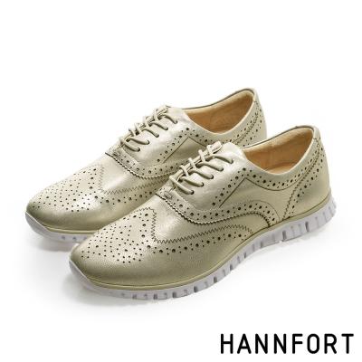 HANNFORT ZERO GRAVITY輕舞牛津翼紋雕花氣墊鞋-女-晨曦金