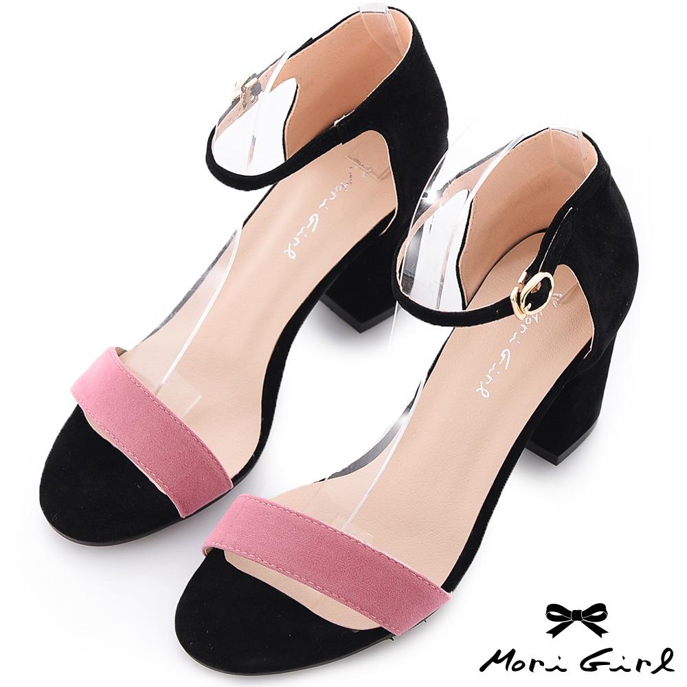 Mori girl浪漫拼接-撞色繫踝粗跟涼鞋 黑x粉紫