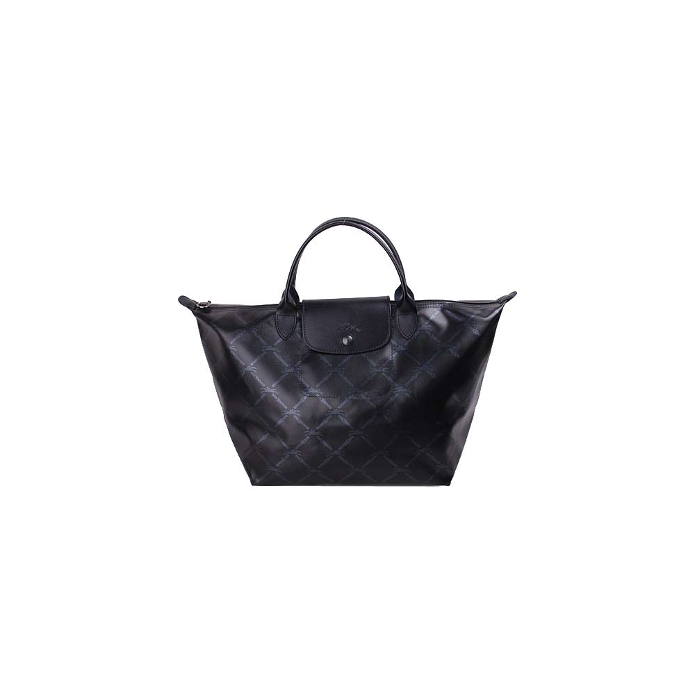 Longchamp 60週年復刻版LM系列斜格紋手提水餃包(中/黑)