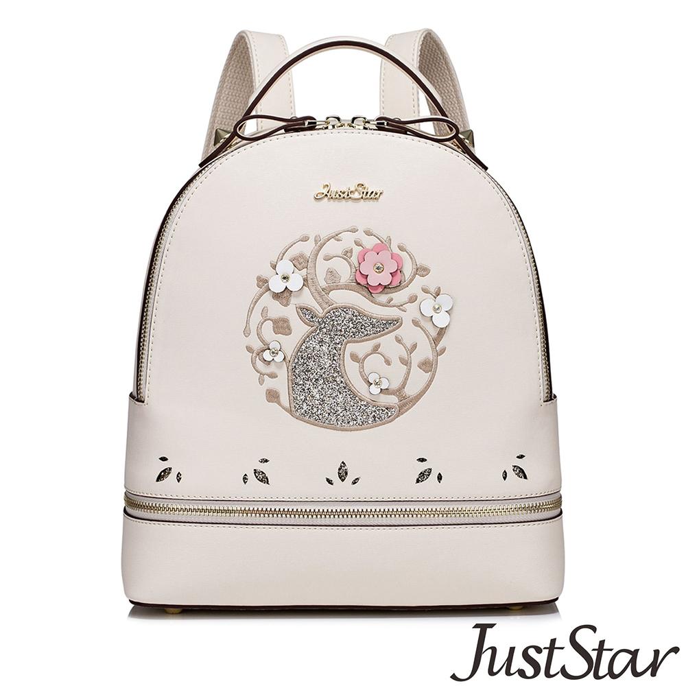 Just Star 花漾電繡圖騰後背包 優雅杏