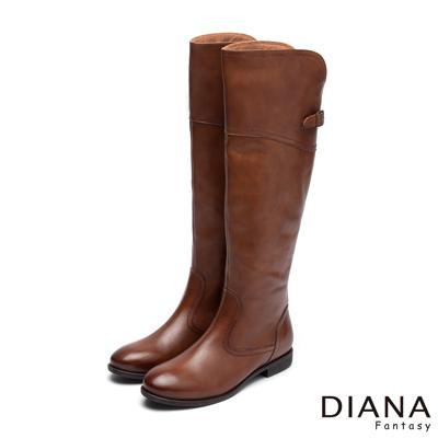DIANA 騎士精神--經典俐落修長金屬飾釦真皮長靴-棕