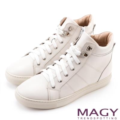 MAGY 街頭率性 真皮內增高高筒休閒鞋-白色