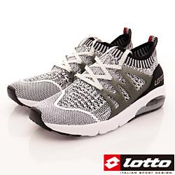 Lotto樂得-彈力飛織跑鞋款-FI058灰(男段)