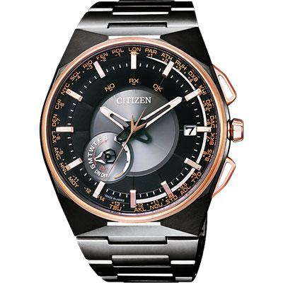 CITIZEN 星辰 鈦衛星對時光動能錶(CC2004-59E)-黑x玫瑰金/44mm