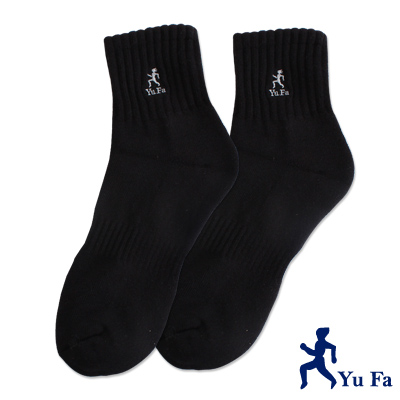 裕發 氣墊彈性運動短襪(黑)