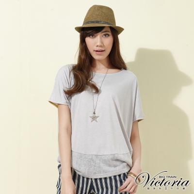 Victoria 異材質拼接寬鬆落肩短袖T-女-淺灰