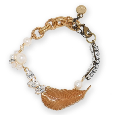 Luce Costante Foglia系列水鑽珍珠手鍊