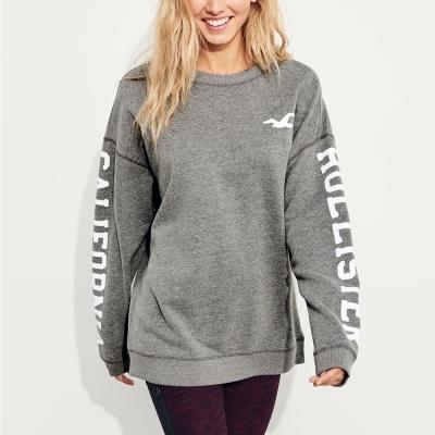 HCO Hollister 經典文字OverSize設計大學長袖T恤(女)-灰色