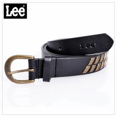 Lee-皮帶-金屬排列裝飾半圓形皮帶頭-女款-黑
