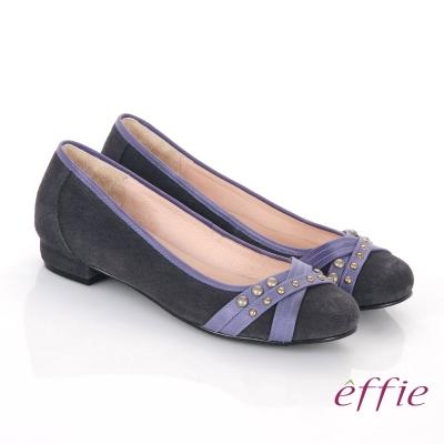 effie 都會休閒 絨面牛皮飾帶金屬扣飾平底鞋 藍色