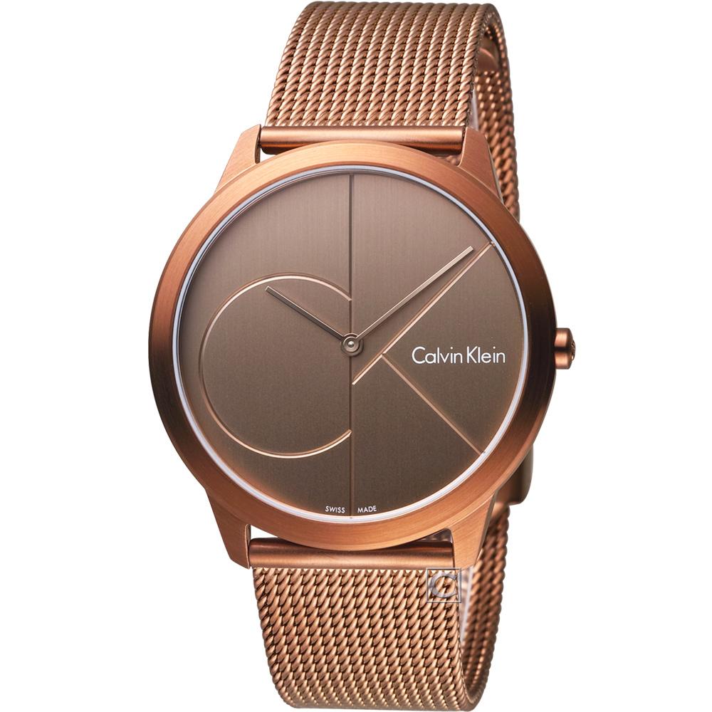 Calvin Klein minimal  大 ck 簡約時尚腕錶-古銅金/40mm