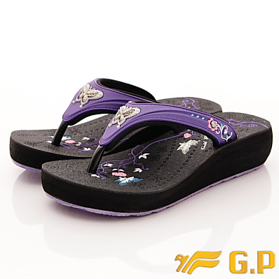 GP時尚涼拖-舞蝶夾腳拖鞋款-SE537W-41紫色(女段)