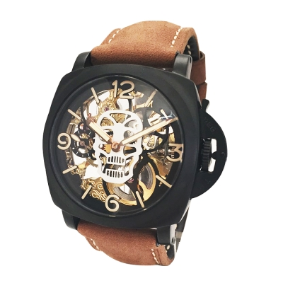 PARNIS軍錶風格 極緻鏤空骷顱雕花手動上鍊機械錶 PA4005
