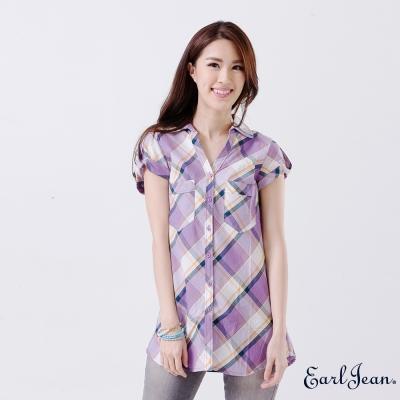 Earl Jean-斜裁格紋捲袖襯衫