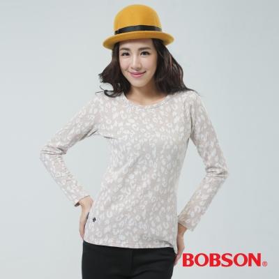 BOBSON  女款豹紋圖案上衣- 粉藕色
