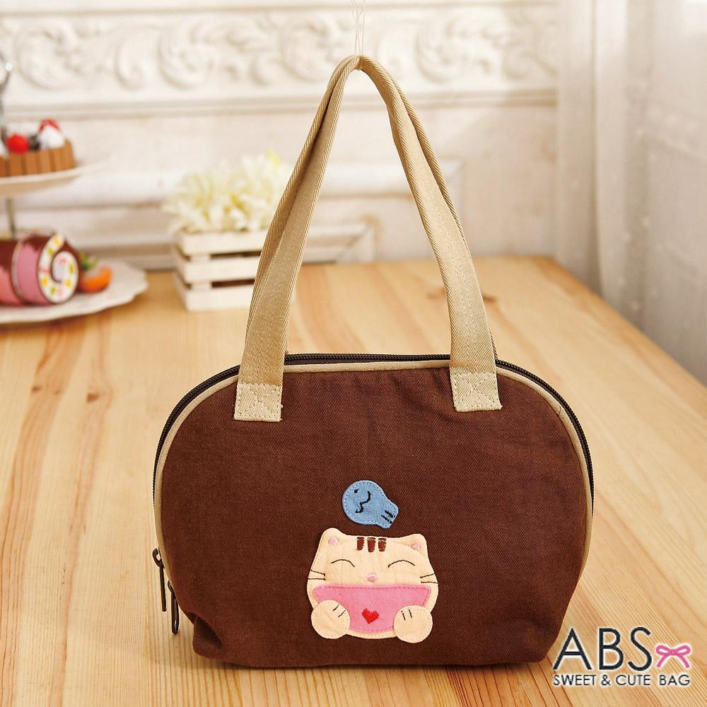 ABS貝斯貓 - HAHA開心貓咪拼布包 小型肩提包88-183 - 咖啡