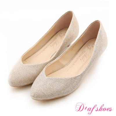 D+AF 星星指標‧金蔥閃料小V口尖頭低跟鞋*典雅淺金