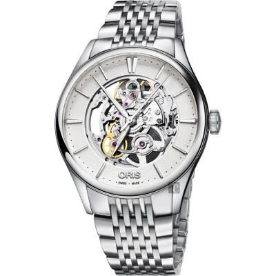 ORIS豪利時 Artelier Skeleton 雙鏤空機械腕錶-銀/40mm