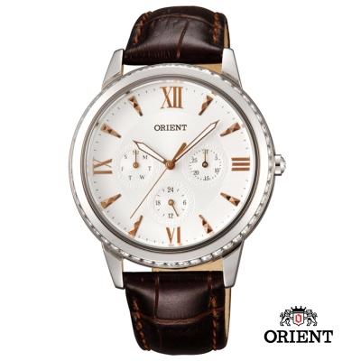 ORIENT 東方錶 CASUAL系列 璀璨晶鑽三眼女錶-白色/39mm